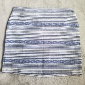 Aztec Chambray Blue and White Skirt 100% Cotton